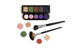 Make-up eye shadows and brushes Stock Images