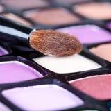 Make-up eye shadows palette with makeup brush Royalty Free Stock Image