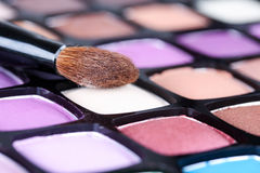 Make-up eye shadows palette with makeup brush Stock Images