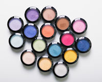 Make-up eye shadows. View from above. Flat lay. concept photo stock photos