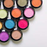 Make-up eye shadows. View from above. Flat lay. concept photo Royalty Free Stock Images