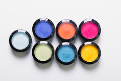 Make-up eye shadows. View from above. Flat lay. concept photo Stock Photo
