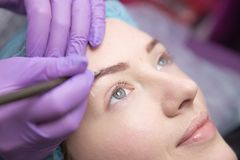 Make-up for eyebrows of beautiful woman with thick brows in beauty salon. Closeup beautician doing tattooing eyebrow. stock photos