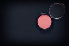 Make up eyeshadow or blush on black background Royalty Free Stock Images