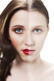 Make up face. Before and after photograph of womans face with halve made up and halve clean stock images