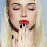 Make-up face.Beautiful blond Woman.Beauty salon manicure Royalty Free Stock Photos