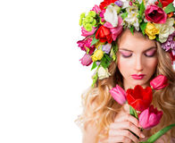 Make up and femininity. Fragrance of spring stock photo