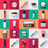 Make-up flat icons set Stock Photography
