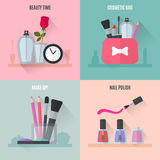 Make up flat icons. Square composition banners Stock Photography