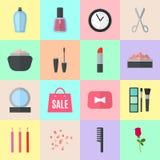 Make up flat icons. Vector illustration Stock Image