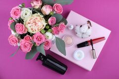 Make up and flowers Royalty Free Stock Photos
