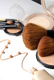 Make-up, foundation and brushes Royalty Free Stock Photos