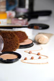 Make-up, foundation and brushes Stock Photography
