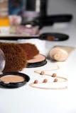 Make-up, foundation and brushes Stock Photography