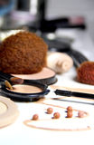 Make-up, foundation and brushes Royalty Free Stock Image