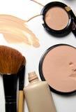 Make-up, foundation and brushes Royalty Free Stock Photo