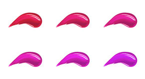 Make up foundation, cream or liquid lipstick smudge smear strokes set in different colours. Royalty Free Stock Photos