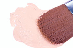 Make up foundation with nylon brush Royalty Free Stock Photo