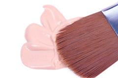 Make-up foundation with professional nylon brush Royalty Free Stock Photos