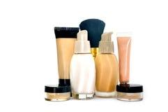 Make up foundation set. Make up  set foundation, powder, conceler, minerals, base isolated on white Stock Photo