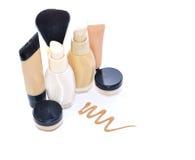 Make up foundation set. Make up  set foundation, powder, conceler, minerals, base isolated on white Stock Image