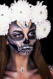 Make-up for the girl on Halloween royalty free stock photos