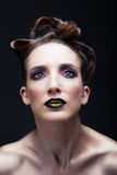Make up girl. Portrait of a beautiful girl model with professional make up Stock Photography