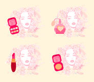 Make-up girl - poster set Stock Images