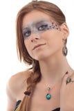 Make-up Girl Turquoise Topaz gemstone necklace Stock Images