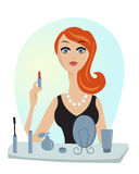 Make up of glamour girl vector illustration Royalty Free Stock Photos