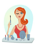 Make up of glamour girl vector illustration Stock Image