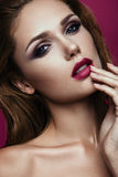 Make up. Glamour portrait of beautiful woman model with fresh makeup and romantic wavy hairstyle. Glamour portrait of beautiful girl model with makeup and Royalty Free Stock Image