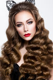 Make up. Glamour portrait of beautiful woman model with fresh makeup and romantic wavy hairstyle. Royalty Free Stock Photography
