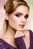 Make up. Glamour portrait of beautiful woman model Royalty Free Stock Images
