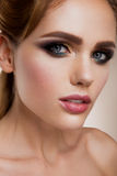 Make up. Glamour portrait of beautiful woman model Stock Images