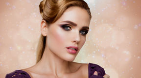 Make up. Glamour portrait of beautiful woman model Royalty Free Stock Photos