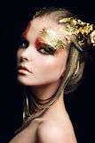 Make-up golden Stock Photo