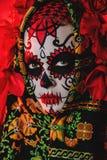 Make-up for halloween party. A close-up portrait of Calavera Catrina. Sugar skull makeup. Dia de los muertos. Day of The Dead. Halloween stock images