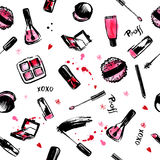 Make Up Hand drawn seamless pattern. fashion style cosmetics with nail polish, lipstick, mascara, brush, lip gloss. Pink Stock Photo