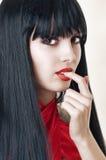 Make-up. Het portret van de manier van donkerbruine vrouw Stock Foto