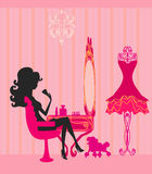 Make up at home. Silhouettes  illustration Royalty Free Stock Image