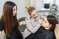 Make-up hoofdklasse stock afbeelding
