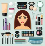 Make-up Icons Flat Royalty Free Stock Image