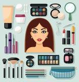 Make-up Icons Flat Royalty Free Stock Image