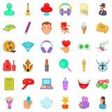 Make up icons set, cartoon style. Make up icons set. Cartoon style of 36 make up vector icons for web isolated on white background Stock Images