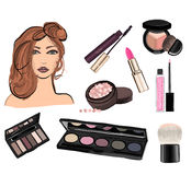 Make up illustration with lipstick Royalty Free Stock Photos