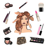 Make up illustration with lipstick Stock Photos