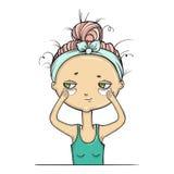Make-up isolate girl , Facial treatment. Vector illustartion Stock Image