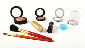Make-up items. Various make-up items on white background stock photo