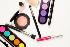Make up items. Several make up items on white background Royalty Free Stock Photo